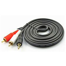 3m 10FT 3.5mm Plug TO 2-RCA Male Stereo Audio Cable Subwoofer Speakers Two RCA