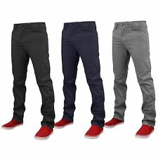New Mens Designer Skinny Fit Stretch Chino Trousers Slim Fit Jeans Cotton Twill