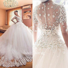 Princess Appliques Beads Wedding Dress Bridal Ball Gown V Neck Long Sleeve White
