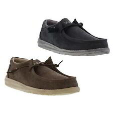 Hey Dude Wally Classic Mens Brown Blue Slip On Canvas Moccasins Shoes Size UK 8-