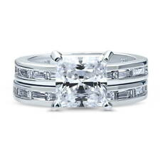 BERRICLE Sterling Silver Princess CZ Solitaire Engagement Ring Set 4.2 Carat