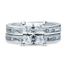 Silver Princess Cubic Zirconia CZ Solitaire Engagement Ring Set 3.57 CT