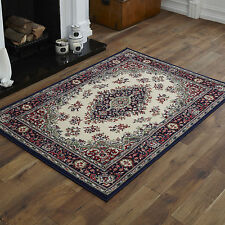 NEW MODERN SMALL MEDIUM LARGE EXTRA LARGE TRADITIONAL NAVY BLUE CREAM SOFT RUGS
