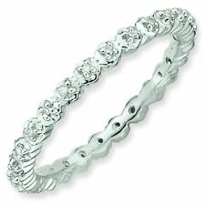Diamond Accent 2.25mm Eternity Band Sterling Silver Stackable Ring