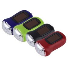 Mini Portable Hand Crank Dynamo 3 LED Solar Powered Flashlight Camping Torch HT