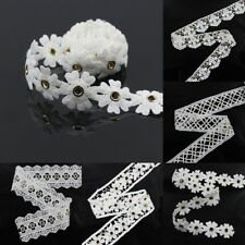 2 yds Off White Embroidered Lace Edge Trim Ribbon Wedding Applique Sewing Craft