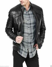 Men's genuine black Cow leather Jacket biker Bomber cowhide Coat = LJ1360