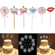10pcs Festive Cupcake Toppers Glitter Cake Picks Wedding Baby Shower Party Decor
