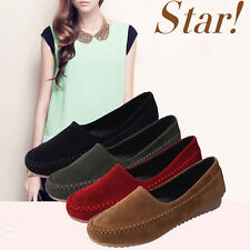 Fashion Driving Women's Walking Casual Flats Oxfords Loafer Slip On Suede Shoes