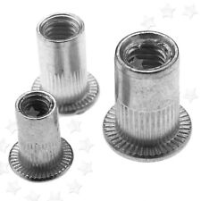New 50pcs M4/M5/M6 Grooved-Serrated Knurled Large Head Rivnuts Rivet Nuts Insert