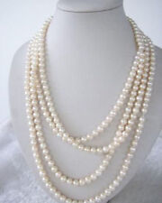 """New 100"""" LONG WHITE FRESHWATER PEARL NECKLACE 7-8MM Natural AAA"""