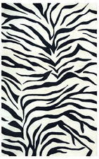 Rizzy Rugs Ivory Zebra Stripes Swirls Contemporary Area Rug Animal Print CF0783