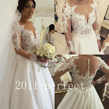 2017 Luxury Beaded Pearl Wedding Dresses White Ivory Lace Bridal Gown Custom New
