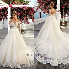 2017 Sheer Lace Top Wedding Dresses White Ivory Bridal Gowns A Line Custom New