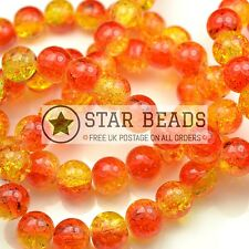 CRACKLE GLASS ROUND BEADS RED/YELLOW 4MM, 6MM, 8MM, 10MM