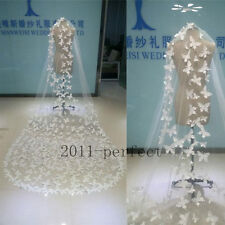 Butterfly Wedding Veils White Ivory  Appliques 3 Meters Custom Made Bridal Veil
