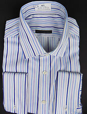 BNWT EX MARKS & SPENCER Non-Iron Performance purple Striped Shirt +french cuffs