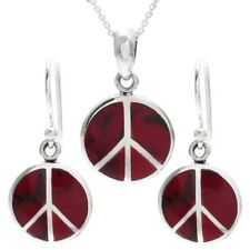 925 Sterling Silver Red Jasper Peace Symbol Pendant and Earring Set