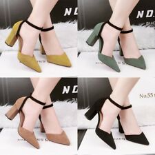 Elegant Pointed Toe Hollow Out Block Sandals Ankle Strap Buckle OL Women Shoes