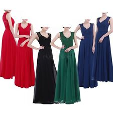 Womens Sleeveless V Neck Lace Long Vintage Evening Formal Prom Cocktail Dresse