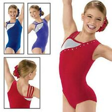 NEW Red Velvet Strappy Foil Stones Gymnastics Leotard Child XL - Fits AM AL
