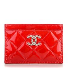CHANEL Patent Quilted Brilliant Card Holder Red