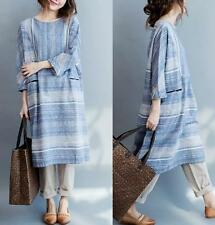 Womens Cotton Linen Striped 3/4 Sleeves Shirt Dress Loose Blouses Tops Plus Free