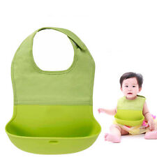 Infant Baby Silicone Feeding Bibs Eating Pinafore Food Crumb Catcher Washable