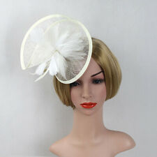 Prom Lady Girl Feather Sinamay Fascinator Hair Clip Cocktail Hat Church Wedding
