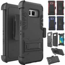 Hybrid Rugged Case Kickstand Cover w/Card Belt Clip For Samsung Galaxy S8 Plus