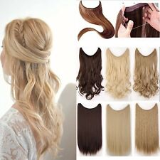 Premium Invisible Wire Hairpiece Secret Long Curly Straight Hair Extension Brown