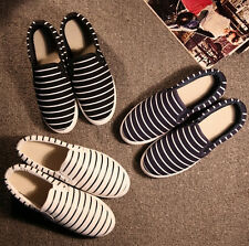 women girl Flat Slip On Casual Sneaker DIY Hand Painted Stripe Canvas Shoes 2017