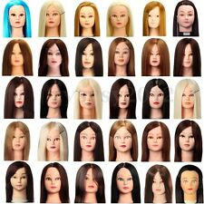 Hairdressing Training Practice Head Human Hair Mannequin Makeup Doll Head +Clamp