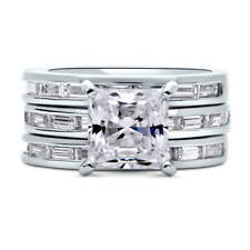BERRICLE Sterling Silver Princess CZ Solitaire Engagement Ring Set 5.39 Carat