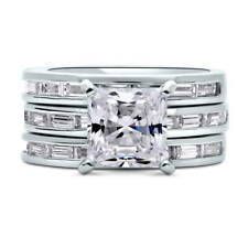 Silver Princess Cubic Zirconia CZ Solitaire Engagement Ring Set 5.39 CT