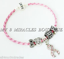 Pink Ribbon Charm BRACELET Braid Leather Breast Cancer Awareness Mothers Day