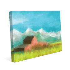Click Wall Art 'Mountain Farm' Painting Print on Canvas