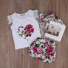 3PCS Kids Baby Girl Flower Clothes Short Sleeve Tops+Pants+Headband Outfits Set