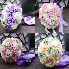 Handmade Roses Heads Bunch Bride's Wedding Party Bouquet Hand Holding Flowers