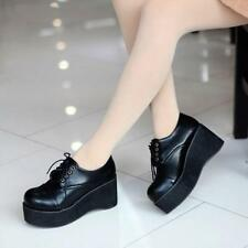Ladies Retro Punk Round Toe Platform Wedge Heels Lace Up Creeper Goth Shoes Pump