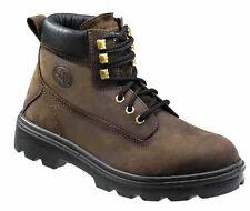 Mens Steel Toe Leather Work Boots Size 6 to 13 UK - WORK WALKING CASUAL LEISURE