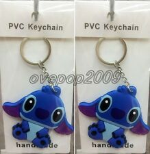 Lot Cartoon Stitch Double sided Rubber Key rings Key Chain Party Favors A444