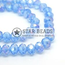 FACETED RONDELLE CRYSTAL GLASS BEADS ICE BLUE AB 4MM,6MM,8MM,10MM