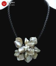 SALE 70mm White Baroque Shell Pearl Flower pendant Black Rope 18'' Necklace-6315