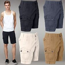 MENS COTTON SUMMER CHINO SHORTS COMBAT CASUAL CARGO ZIP FLY POCKET SIZE 32-46