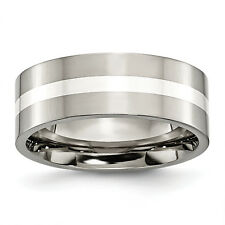Titanium Sterling Silver Inlay Flat 8mm Polished Band TB209