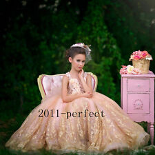 Luxury Pageant Party Dress Princess Flower Girl Dresses Formal Sequins Gowns