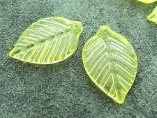 16x24mm 30/60pcs CLEAR GREEN YELLOW ACRYLIC LUCITE PLASTIC LEAFS BEADS CM05821