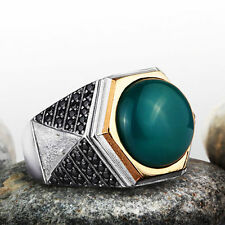 Solid Silver Mens Handmade Ring Green AGATE NATURAL GEMSTONE with Black Onyx