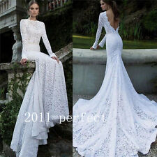 Luxury Lace Mermaid Wedding Dress Bridal Gown Custom Size 4 6 8 10 12 14 16*2017